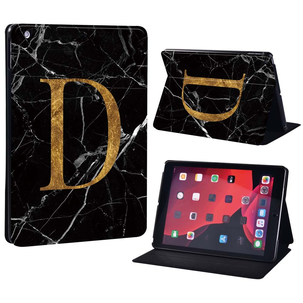 letter D on black Black For Apple iPad 8 10 2 2020 8th 8 Generation A2428 A2429 Printing initia letters PU