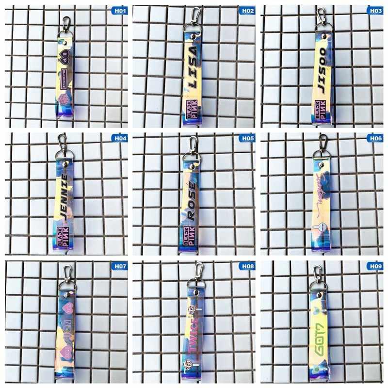 KPOP Blackpink Exo Got7 ايزون مرتين سبعة عشر المفاتيح التطريز حبل معلق مفتاح سلسلة الهاتف حلقة الحبل بالجملة