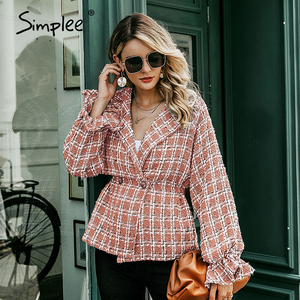 Image 5 - Simplee Elegant women plaid tweed jacket coat Lantern sleeve streetwear female outwear coat Elastic high waist ladies coat