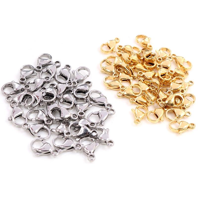 30 pçs/lote 10*5mm 12*7mm aço inoxidável ouro lagosta fecho ganchos para colar & pulseira corrente diy moda jóias descobertas|Componentes p/ joias|   -