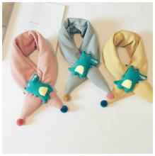 Korean Japan Cotton Solid Cartoon Mouse Soft Warm Autumn Winter Thick Kids Children Boys Girls Cross Rings Shawls Scarves-LHC