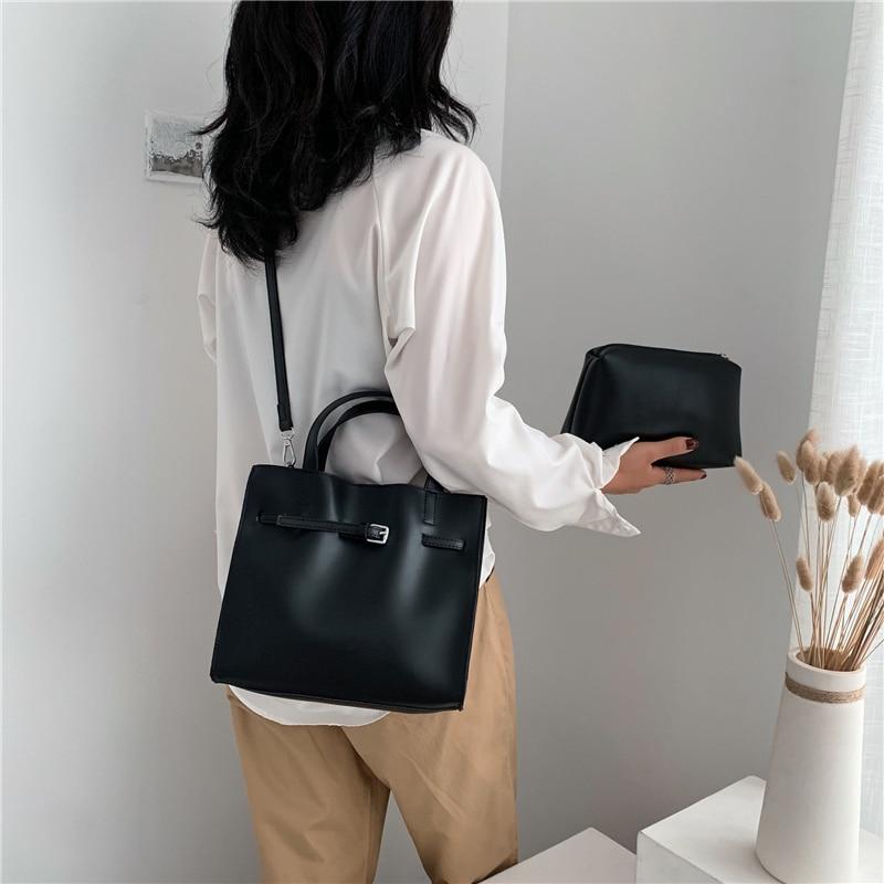 Image 4 - 2019 Big Women Handbag PU Leather Women Shoulder Bags Designer Women Messenger Bags 2pcs Ladies Casual Tote Bags Sac A Main-in Shoulder Bags from Luggage & Bags