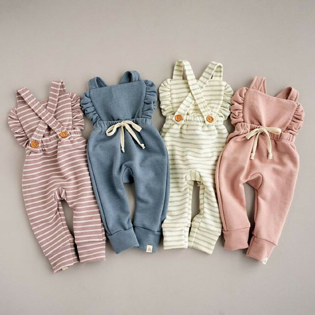 Toddler Newborn Baby 4Colors Striped   Romper   Ruffle Infant Toddler Newborn Baby Backless   Romper   Overalls Jumpsuit Kids Clothes