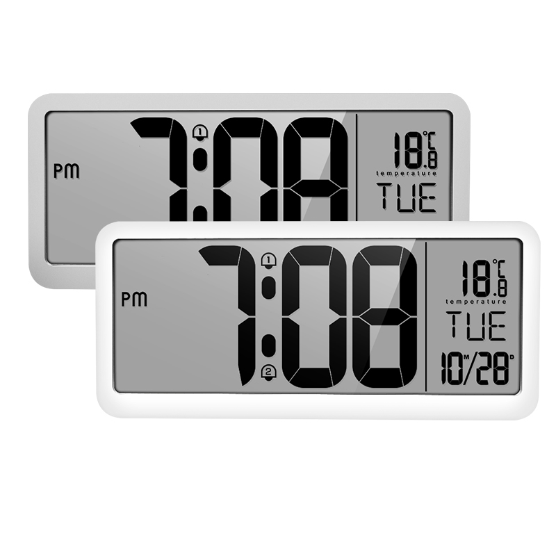 Battery Powered Digital Wall Clock With 2 Alarm Settings Adjustable Volume LCD Screen Display Time Date Weekday Temperatur