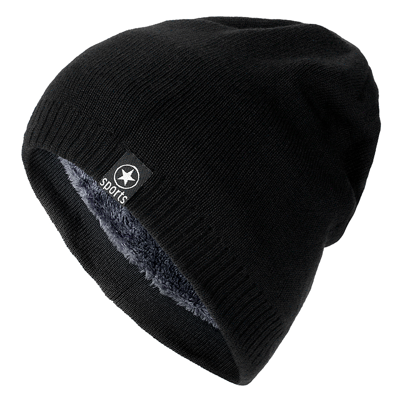 High Quality Star Winter Hat Add Fur Warm Beanies Hat Baggy Skullies Knitted Hat For Men Women Ski Sports Beanies Cap