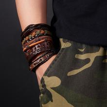 Ретро 6 шт./компл. Браслеты браслеты мужские Кожаные Браслеты Многослойные чёрный; коричневый кожаный шарма ювелирных изделий браслет-напульсник, высочайшего качества, мужской браслет
