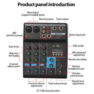Image 2 - Professional 4 Channel bluetooth Mixer Audio Mixing DJ Console with Reverb Effect for Home Karaoke USB Stage Karaoke KTV