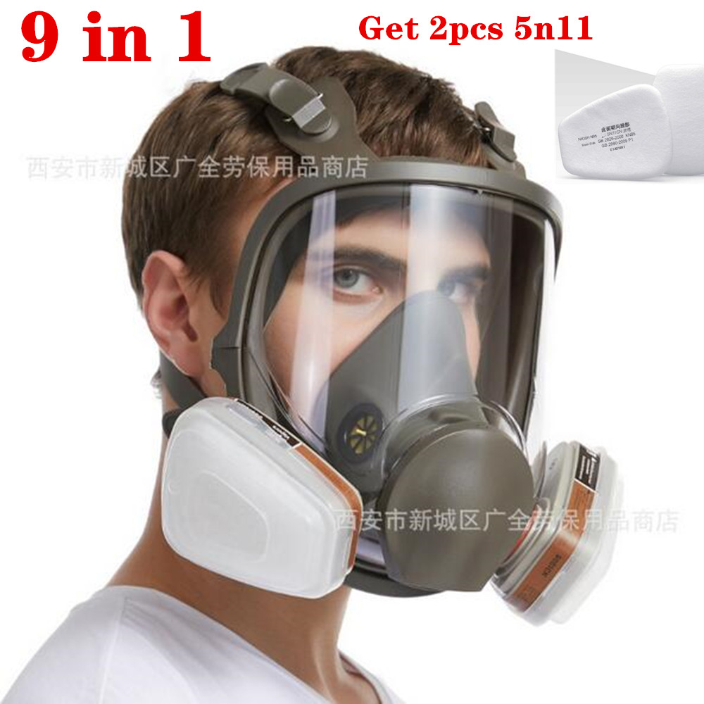15 In 1 6800 Industrial Painting Spraying Respirator Gas Mask  Suit Safety Work Filter Dust Full Face Mask Replace