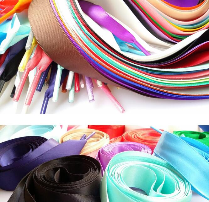 1Pair 2 CM Width Silk Satin Shoelaces Ribbon Shoe Laces Boots Women Sneakers ShoeLace 26 Colors Length 100CM