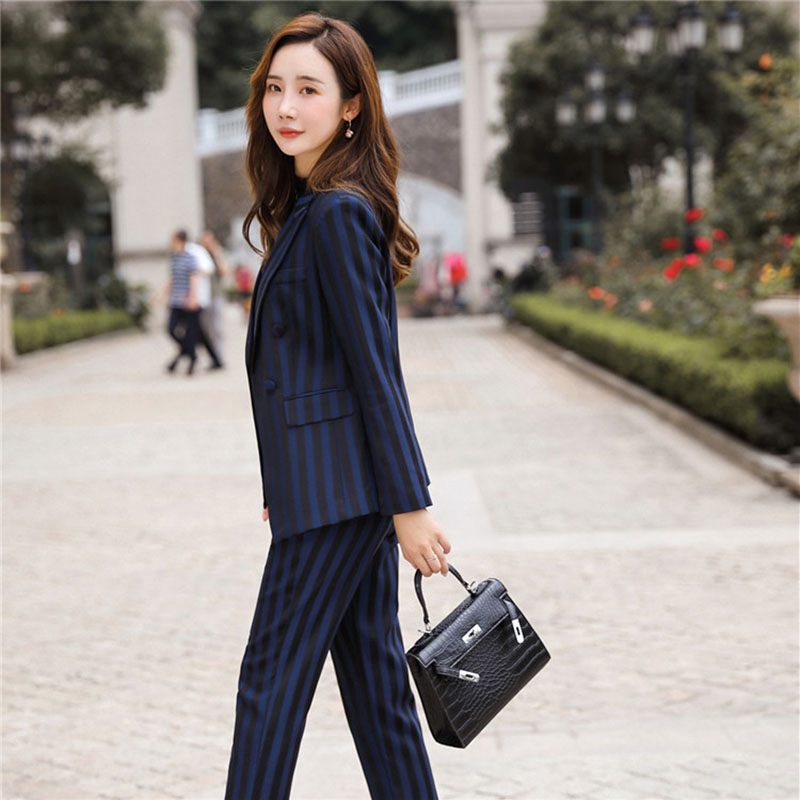 Women's suit 2019 autumn new casual fashion temperament slim stripes single buckle small suit trousers two-piece 18