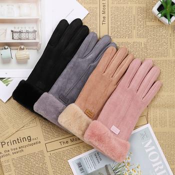 Nowe modne rękawiczki damskie jesienno-zimowe śliczne futrzane ciepłe rękawiczki pełne mitenki damskie Outdoor Sport na rękawiczki damskie tanie i dobre opinie GAOKE Dla dorosłych CN (pochodzenie) WOMEN suede Stałe Nadgarstek Moda 466381 female warm gloves hand gloves