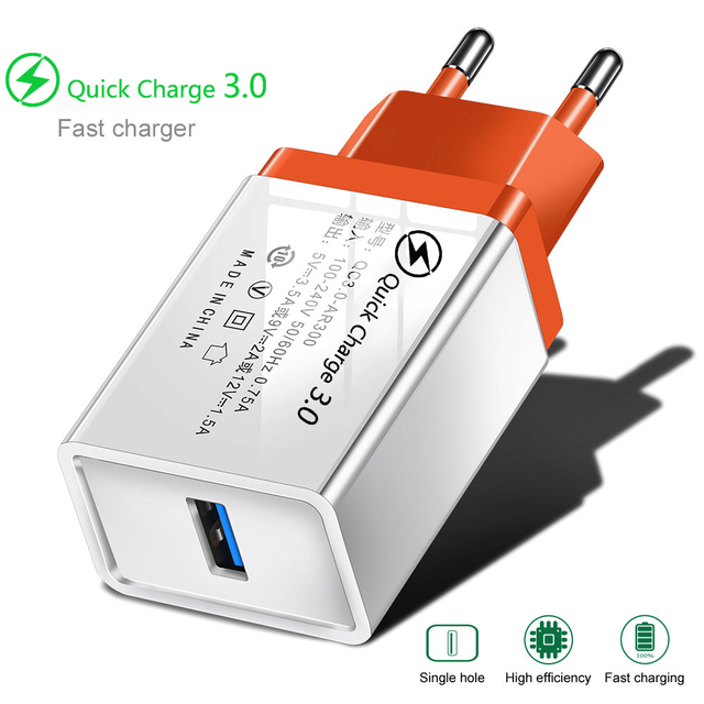 QC 3.0 USB Charger Quick charge 3.0 for iphone Samsung Xiaomi Huawei EU Adapter Charging Mobile Phone Charger Micro USB C Cable