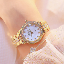 Women Stainless Steel Band Watch Gold Bracelet Watch Top Brand Luxury Big Diamond Ladies Quartz Wrist Watches For Female Clock brand watches for women diamond bracelet quartz watch women s dress clock geneva classic mens luxury stainless steel watch ni
