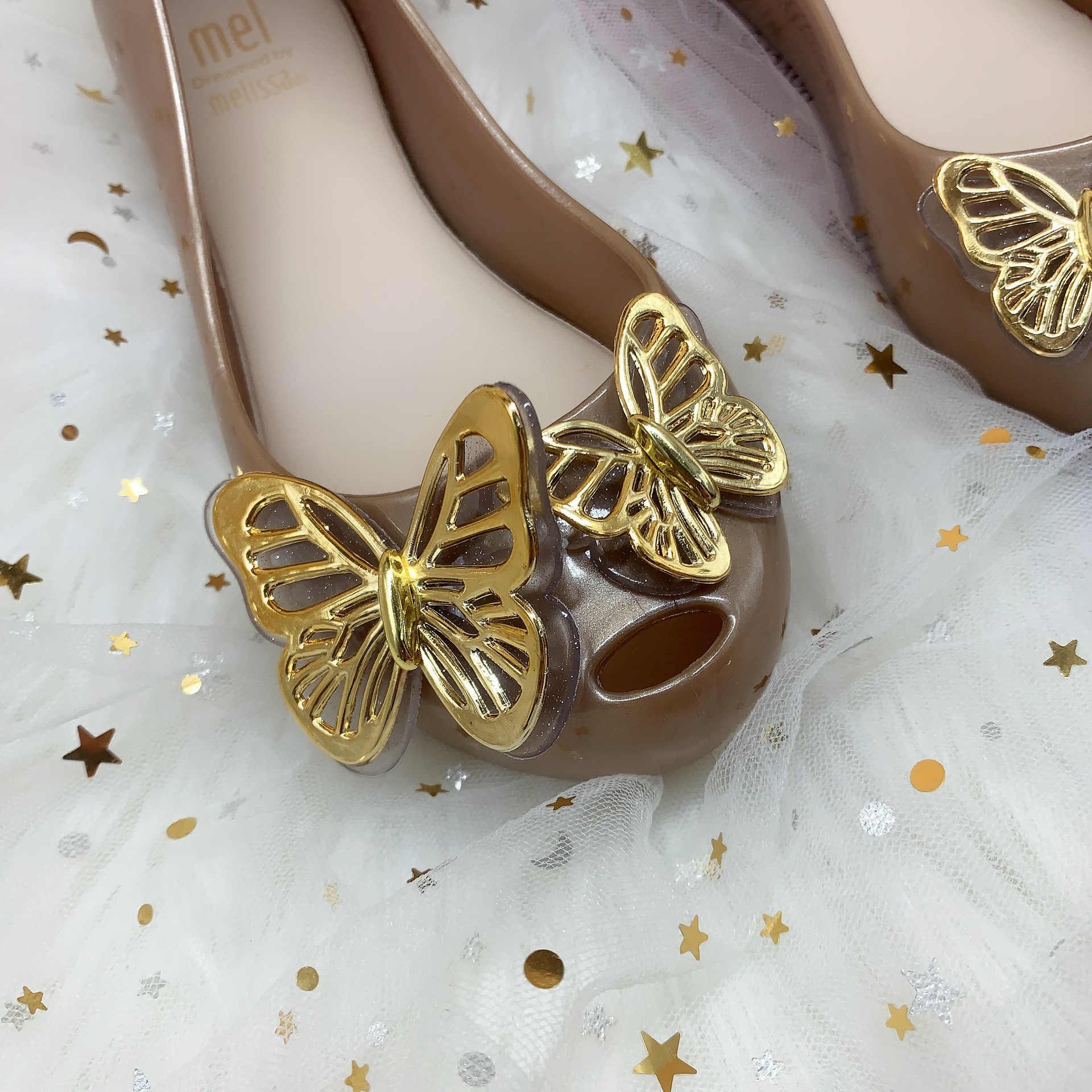 Mini Melissa 2020 Trẻ Em Mới Jelly Giày Thời Trang Trẻ Em Công Chúa Bướm Kẹo Giày Bé Gái Lớn Giày Đi Biển Mềm Giày Sandal HMI024