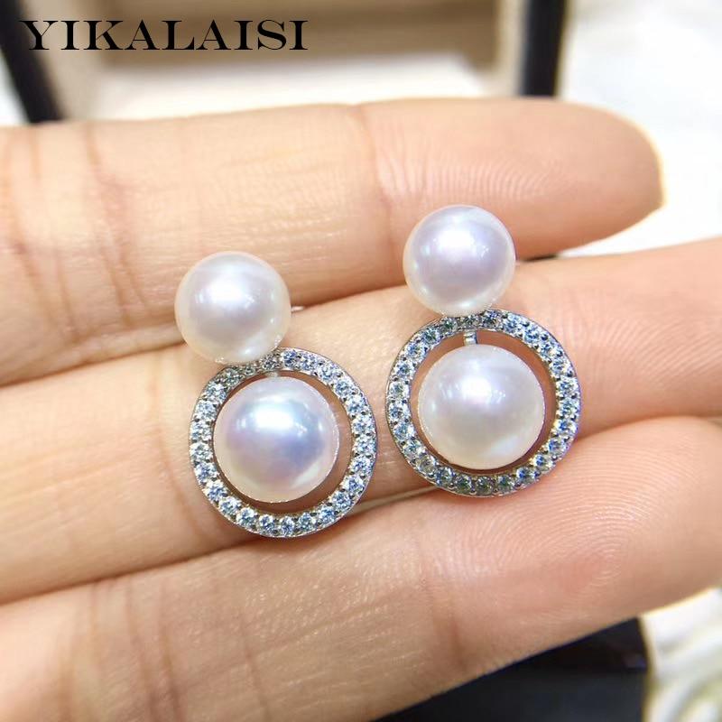YIKALAISI 925 Sterling Silver Jewelry Pearl Earrings 2019 Fine Natural Pearl Jewelry 7-8mm Stud Earrings For Women Wholesale