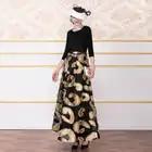 Sommer Vintage Lange Kleid Jacquard 3D Gedruckt Teil Kleid Patchwork Designer Frauen Schlanke Taille Maxi Runway Kleid DZ3021 - 2