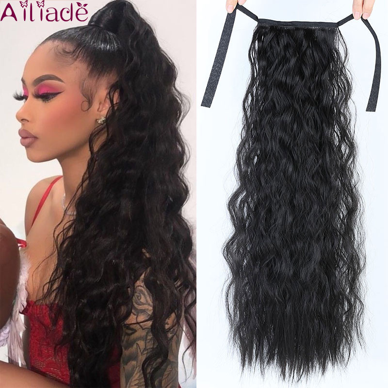 AILIADE 22inch Curly Ponytail Hairpiece Heat Resistant Synthetic Hair Tail Clip Long Drawstring Ponytail Clip Hair Extensions