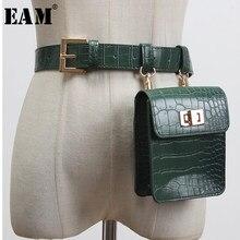 EAM – Mini-sac vert en cuir Pu pour femmes, avec une longue ceinture large fendue, à la mode, assorti avec tout, nouvelle collection printemps 2021, 1Y007