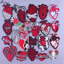 Human Organs Heart Embroidery Patch Iron On Patches For Clothing Cloth Flower Heart Badge Applique Hippie Rock Embroidered Patch punk patch diy embroidery patches for clothing stickers badge hippie rock patch for t shirt applique iron on patch on clothes