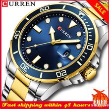Moda męska zegarek CURREN człowiek wodoodporny Sport data zegarek kwarcowy wysokiej klasy luksusowe męskie zegarki ze stali nierdzewnej часы мужские tanie tanio 25cm Moda casual QUARTZ NONE 3Bar Bransoletka zapięcie CN (pochodzenie) Ze stopu 15mm Hardlex STAINLESS STEEL 47mm 8388