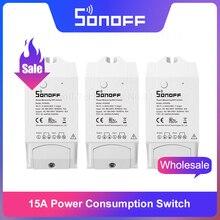 Itead Sonoff TÙ BINH R2 15A WiFi Công Tắc Thông Minh Màn Hình Sử Dụng Năng Lượng Thông Minh Wi Fi Nhà Switch thông qua EweLink ỨNG DỤNG Hoạt Động Với alexa IFTTT