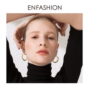 Image 4 - ENFASHION Punk Pyramid Hoop Earrings For Women Gold Color Small Circle Hoops Earings Fashion Jewelry Aros De Moda 2020 E191102