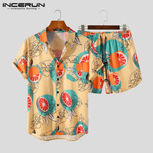 INCERUN erkekler baskı setleri nefes Streetwear yaka kısa kollu gömlek plaj şortu 2021 Casual erkek Hawaiian 2 parça Suits