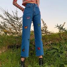 SEASONS Embroidery Butterfly Blue Jeans Women Casual High Wa