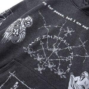 Image 5 - 2020 Hip Hop Hoodie Sweatshirt Men Streetwear Skull Graffiti Print Hoodie Pullover Cotton Autumn Grey Harajuku Punk Clothes New