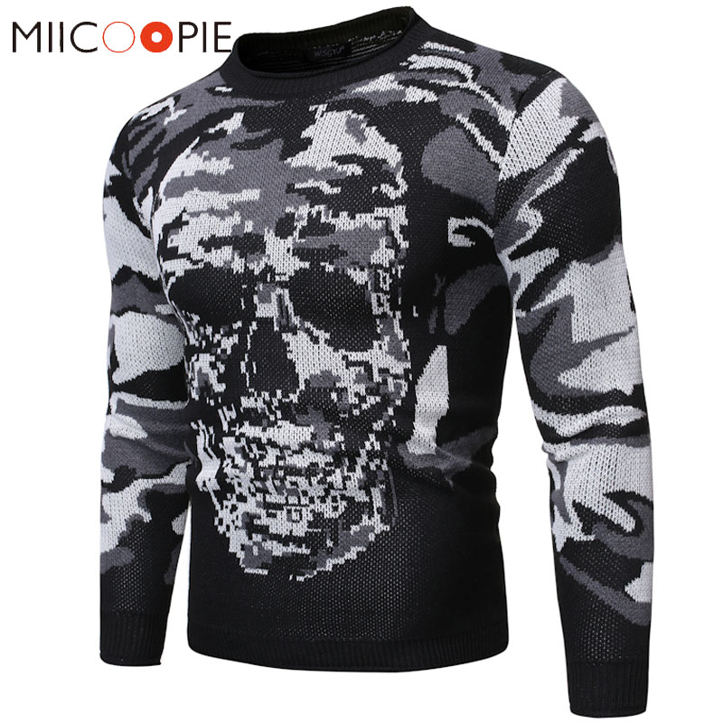 O-Neck Skulls Pullover Sweater Men 2019 Autumn Winter Warm Slim Fit Long Sleeve Pull Homme Men Fashions Knitted Sweaters Jackets