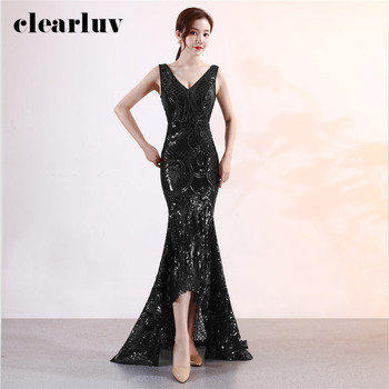 Evening Dress Black Deep V-Neck Sexy Train Formal Gown DX371 Sleeveless Plus Size Prom Gown Long Sequins Elegant Mermaid Dress