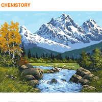 CHENISTORY 60x75cm marco Diy pintura por números Kit nieve montaña arte de pared moderno pintura acrílica por números para arte de regalo