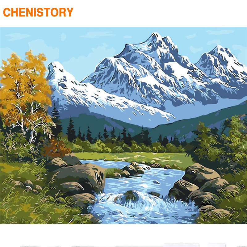 Hot Sale DIY Oil Paint By Number Kit Painting DIY Mountain Hand Craft No Frame