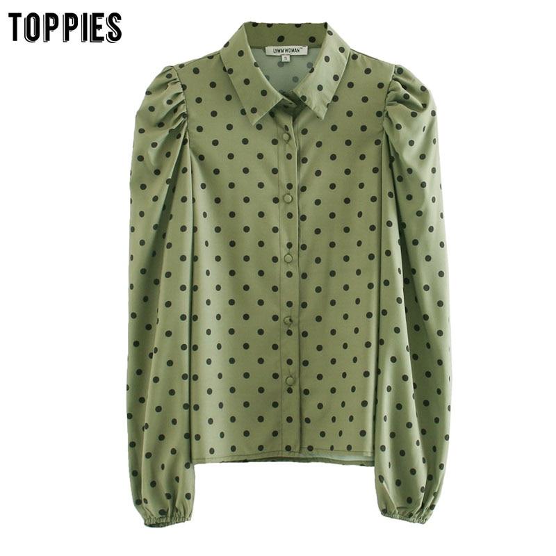 Toppies Green Polka Dot Shirts 2020 Spring Long Sleeve Women Tops Puff Sleeve Blouses Bluzas Femeninas