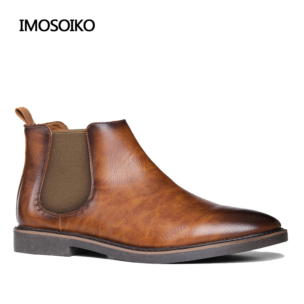 2021 Fashion Chelsea Boots Men's Retro Style Classic Comfortable Dress Ankle Boots Hombre Casual Shoes Cowboy Motorcycle Boots
