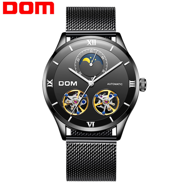 DOM Watches Men Top Brand Automatic Mechanical Watch Man Waterproof Self-winding Stainless Steel Luxury Clock Relogio Masculino