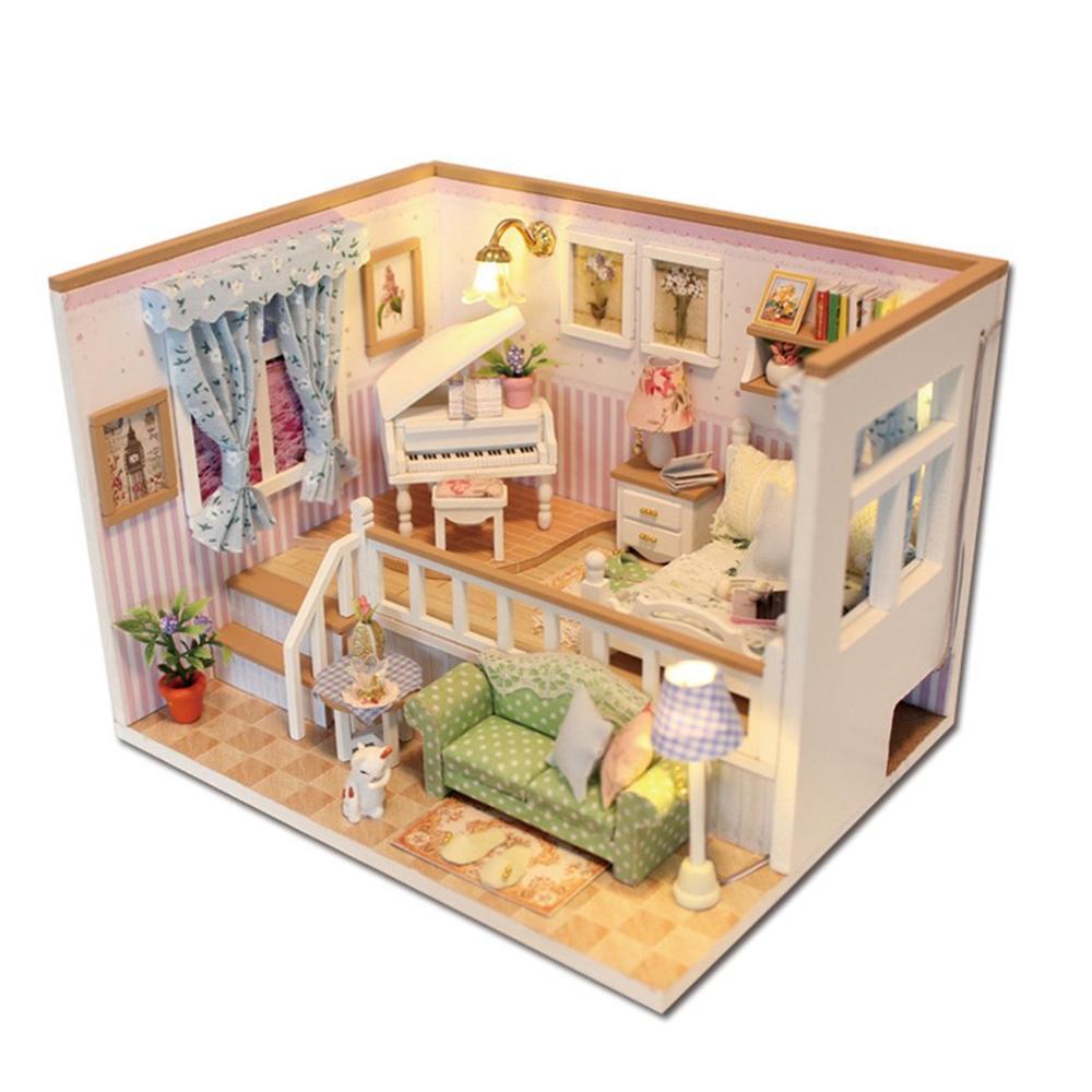 Maison De Poupee Meubles Avec Cache Poussiere Neutre En Bois Bricolage Miniature 3d Maison De Poupee Jouets Pour Enfants Cadeaux D Anniversaire 1 Ensemble Aliexpress