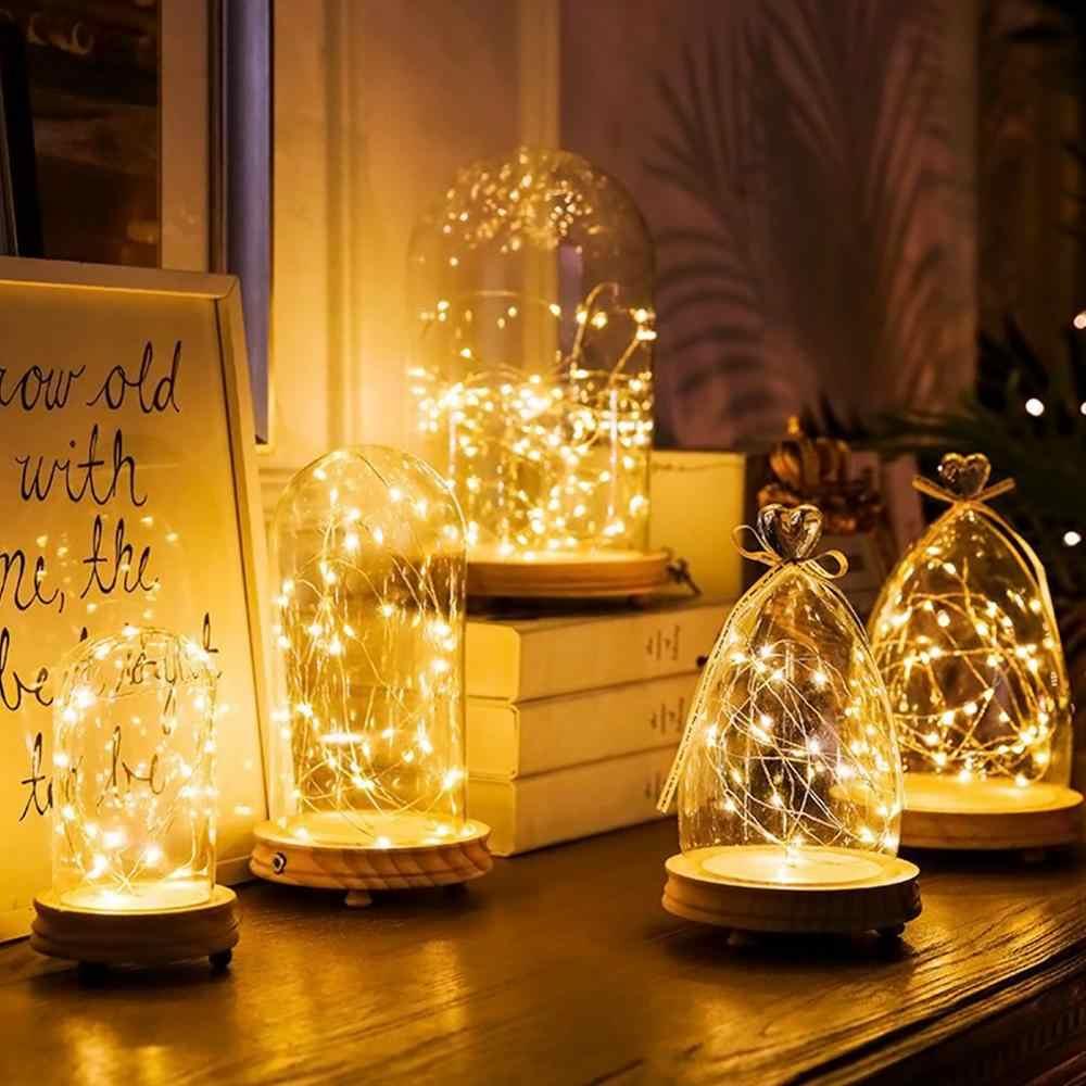 クリスマス花輪 2 メートル 3 メートル 5 メートル 10 メートルの銅線 USB LED ストリングライト電池式ホリデー照明妖精ツリー結婚式の装飾