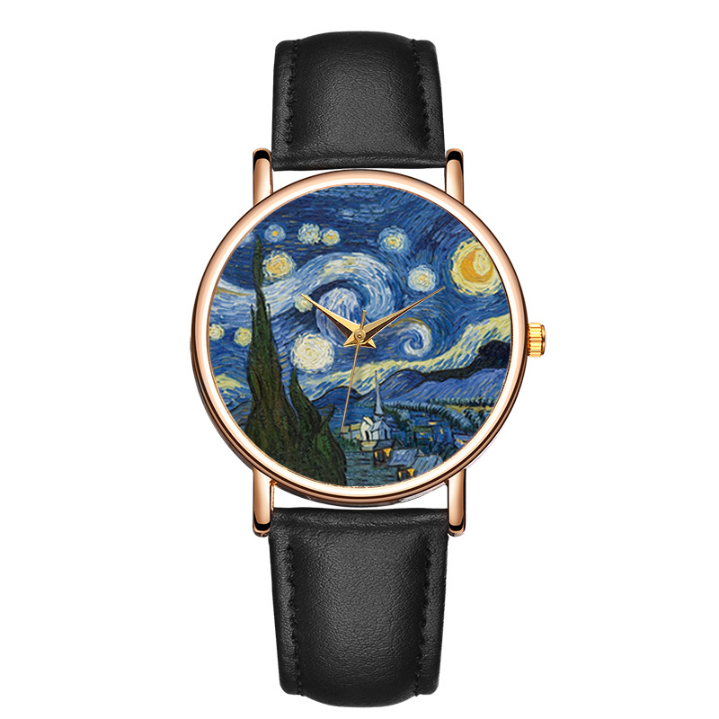 New Fashion Women Watch Top Brand Van Gogh's Starry Sky Men Watches Leather Strap Quartz Clock Couple Gift Reloj Mujer Hombre