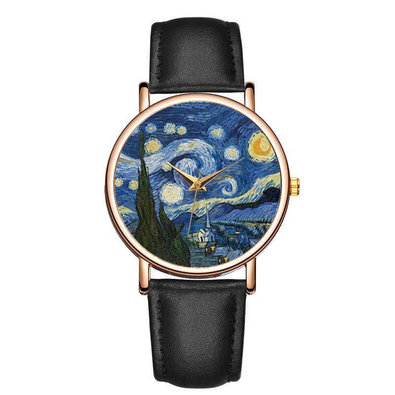 Nouvelle mode femmes montre haut marque Van Gogh ciel étoilé hommes montres bracelet en cuir Quartz horloge Couple cadeau Reloj Mujer Hombre montre femme 2019 montre femme marque de lu robe de soiree montres homme