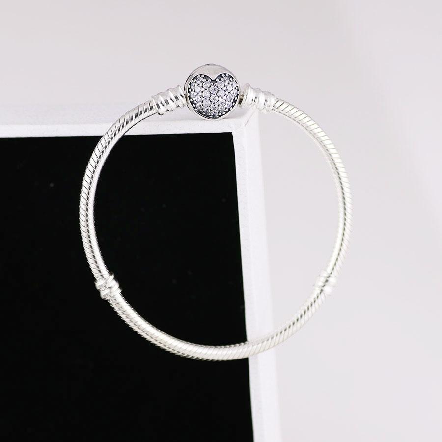 Free Shipping Real 925 Sterling Silver Glittering Heart-shaped Close Fitting Bracelet Fit European Charm Bracelets Women Jewelry