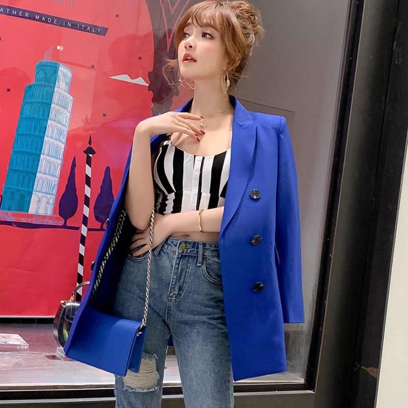 女性カジュアルブレザージャケット新ファッション 2019 春秋のダブルブレストオフィスブレザーコート女性スーツ S011