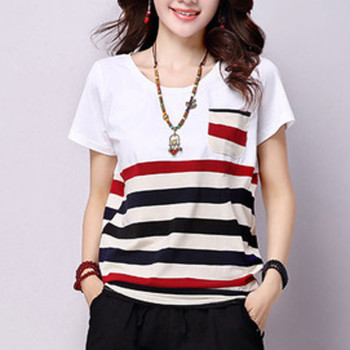 Women Loose Plus Size T-Shirt Polyester Striped O-Neck Short-sleeved Top Pocket Casual Summer Camiseta Mujer Female T-shirt openwork lace splicing striped t shirt with pocket