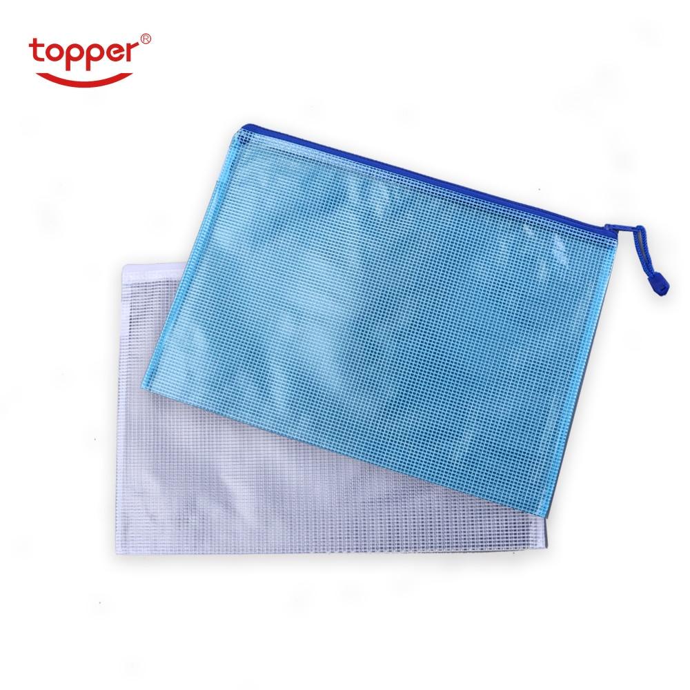 Free Shiping 1 Pcs Waterproof Plastic Zipper Paper File Folder Pencil Pen Case Bag File Document Bag For Office Student Supplies
