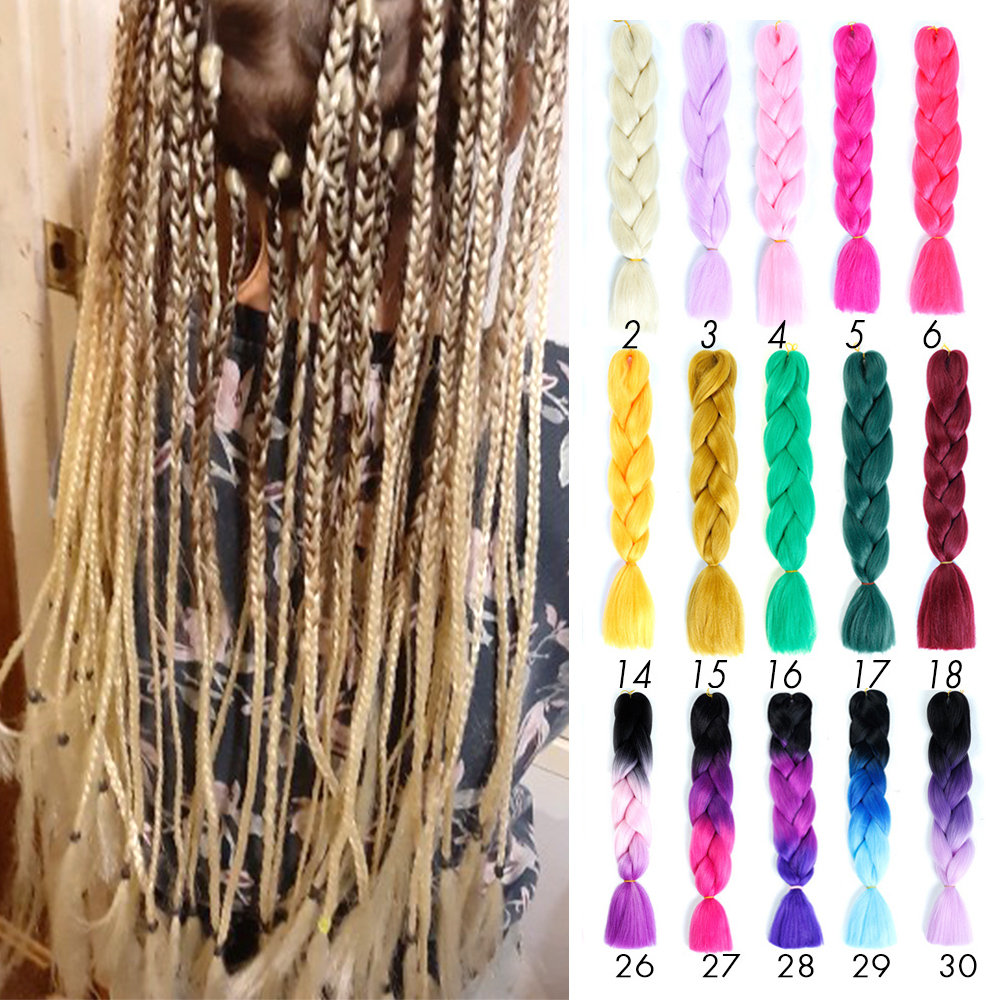 Pageup 24 Inches 105 Colored Long Jumbo Hair Crochet Braids Ombre Braiding Blue Pink Grey African Synthetic Extensions