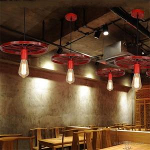Image 3 - Retro Industrial Wheel Pendant Lights Vintage Bar Dining Room Kitchen Hanging Lamps Iron Art Restaurant Home Deco Light Fixtures