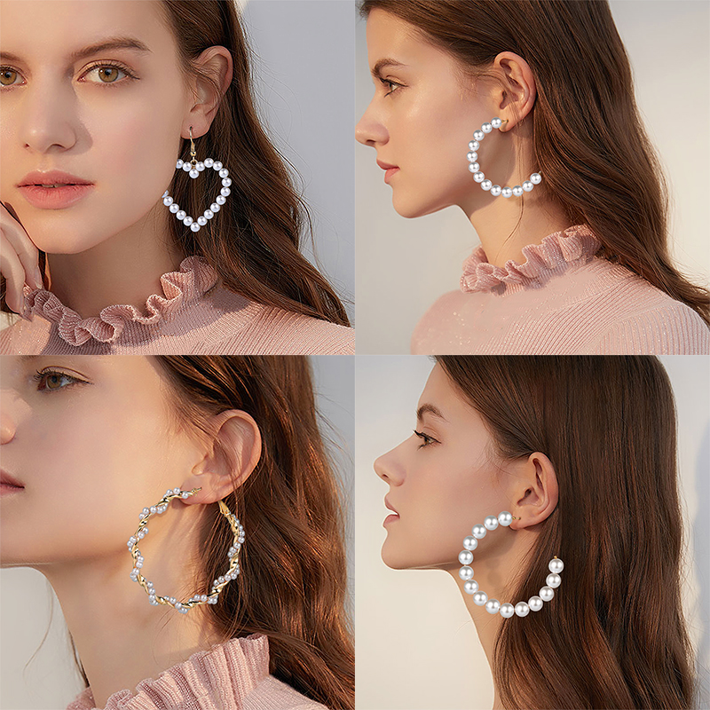 Vintage Oversize Pearl Hoop Earrings For Women 2019 Fashion Unique Twisted Big Earrings Circle Earring Brinco Statement Jewelry