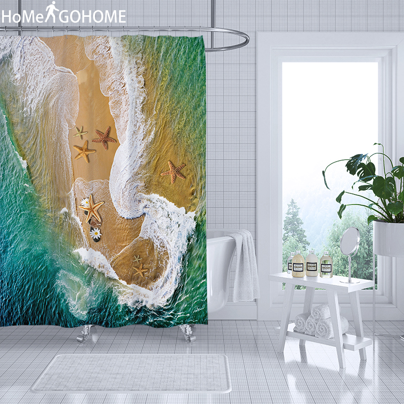 3D Shower Curtain Seascape Waterproof Polyester Fabric Bathroom Shower Curtain Bath Bathtub Beach Decor Emerald Green Starfish in Shower Curtains from Home Garden