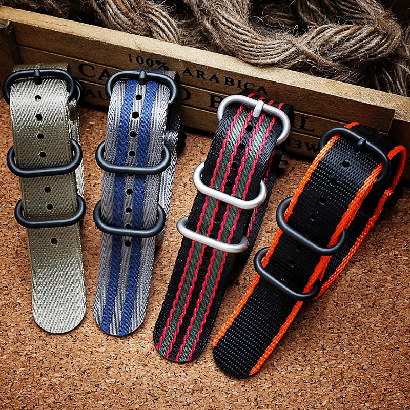 Onthelevel 20mm 22mm Seatbelt Zulu Strap Quality Nylon Nato Watchband For Sport Military G10 Watch Band Black Silver Buckle #C