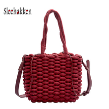 Thick Cotton Rope Straw Bag  Fashion Woven Handbag Solid Color Shoulder Bag Beach Bags bags for women 2019 Autumn style new casual straw and solid color design shoulder bag for women